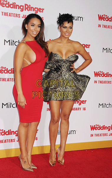 HOLLYWOOD, CA - JANUARY 06: TV personalities/sisters Gloria Govan (L) and Laura Govan attend the world premiere of 'The Wedding Ringer' at TCL Chinese Theatre on January 6, 2015 in Hollywood, California.<br /> CAP/ROT/TM<br /> &copy;TM/ROT/Capital Pictures