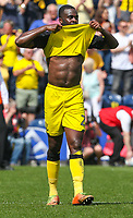 Burton Albion's Hope Akpan reacts after the final whistle<br /> <br /> Photographer Alex Dodd/CameraSport<br /> <br /> The EFL Sky Bet Championship - Preston North End v Burton Albion - Sunday 6th May 2018 - Deepdale Stadium - Preston<br /> <br /> World Copyright &copy; 2018 CameraSport. All rights reserved. 43 Linden Ave. Countesthorpe. Leicester. England. LE8 5PG - Tel: +44 (0) 116 277 4147 - admin@camerasport.com - www.camerasport.com