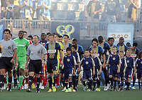 CHESTER, PA - AUGUST 12, 2012:  Players of the Philadelphia Union and of the Chicago Fire enter the field before an MLS match at PPL Park, in Chester, PA on August 12. Fire won 3-1.