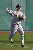 Alex Lakatos #50 of the Michigan Wolverines during the Big East-Big Ten Challenge vs. the Louisville Cardinals at Al Lang Field in St. Petersburg, Florida;  February 18, 2011.  Louisville defeated Michigan 6-3.  Photo By Mike Janes/Four Seam Images