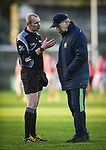 Clare manager Donal Moloney chats with referee John Mc Cormack of Tipperary following their Munster Hurling League game against Cork at Cusack Park. Photograph by John Kelly.