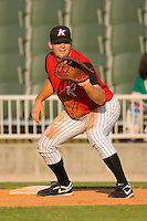 First baseman Dan Black #31 of the Kannapolis Intimidators on defense versus the Rome Braves at Fieldcrest Cannon Stadium July 26, 2009 in Kannapolis, North Carolina. (Photo by Brian Westerholt / Four Seam Images)