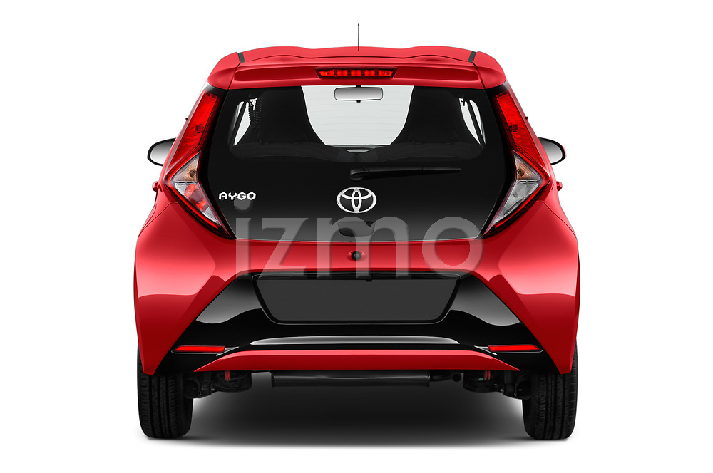 Straight rear view of 2019 Toyota Aygo x-Play 5 Door Hatchback Rear View  stock images