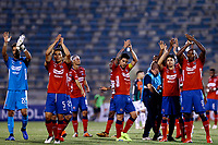 SANTIAGO DE CHILE - CHILE: 06-02-2019: Jugadores de Deportivo Independiente Medellín (COL), celebran el empate con Club Deportivo Palestino (CHL) al final del partido de la Segunda fase, llave 4, entre Club Deportivo Palestino (CHL) y Deportivo Independiente Medellín (COL), por la Copa Conmebol Libertadores 2019 en el estadio San Carlos de Apoquindio, de la ciudad de Santiago de Chile. / Players of Deportivo Independiente Medellin of Colombia, celebrate the tie with Club Deportivo Palestino (CHL) at the end of a match between Club Deportivo Palestino (CHL) and Deportivo Independiente Medellin of the second phase, key 4, for Copa Conmebol Libertadores 2019 at the San Carlos de Apoquindio Stadium, in the city of Santiago de Chile. Photos: VizzorImage / Osvaldo Villarroel / Cont. / Xpress Media
