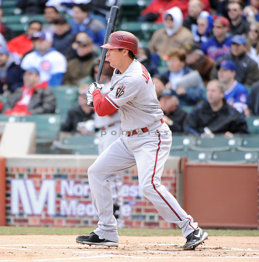 KELLY JOHNSON, of the Arizona Diamondbacks , in actions during the Cubs game against the Chicago Cubs at Wrigley FIeld on April 5, 2011.  The Cubs won the game beating the Diamondbacks 6-5.