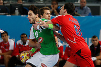 15.01.2013 World Championshio Handball. Match between Algeria vs Egypt (24-24) at the stadium La Caja Magica. The picture show Riad Chehbour (Wing of Algeria)