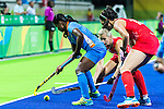 Sam Quek #13 of Great Britain and Sophie Bray #19 of Great Britain defend during India vs Great Britain in a Pool B game at the Rio 2016 Olympics at the Olympic Hockey Centre in Rio de Janeiro, Brazil.