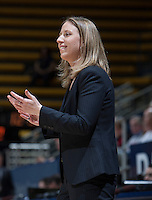 California head coach Lindsay Gottlieb smiles during the game against Washington State at Haas Pavilion in Berkeley, California on February 27th, 2014.   California defeated Washington State, 75-68.