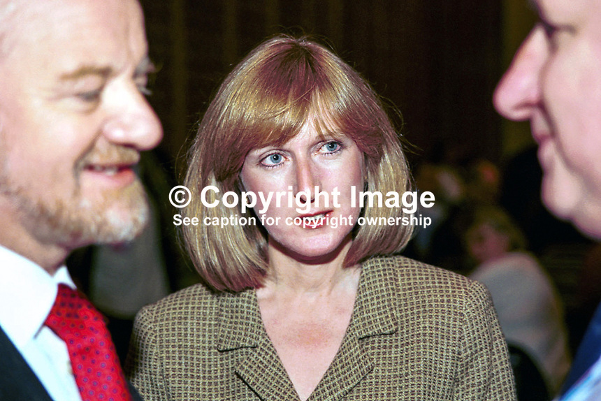 Gaynor Cook, Wife of  Robin Cook, Labour MP &amp; Foreign Secretary, Britain, UK. Taken at Labour Party Annual Conference. Ref: 199810260.<br /> <br /> Copyright Image from Victor Patterson,<br /> 54 Dorchester Park, <br /> Belfast, UK, BT9 <br /> <br /> t1: +44 28 9066 1296 (from Rep of Ireland 048 90661296)<br /> t2: +44 28 9002 2446 (from Rep of Ireland 048 9002 2446)<br /> <br /> m: +44 7802 353836<br /> <br /> e: victorpatterson@me.com<br /> www.victorpatterson.com<br /> <br /> Please see my Terms and Conditions of Use at www.victorpatterson.com. It is IMPORTANT that you familiarise yourself with them.<br /> <br /> Images used on the Internet must be visibly watermarked i.e. &copy; Victor Patterson<br /> within the body of the image and copyright metadata must not be deleted. Images <br /> used on the Internet have a size restriction of 4kbs and will be chargeable at current<br />  NUJ rates unless agreed otherwise.<br /> <br /> This image is only available for the use of the download recipient i.e. television station, newspaper, magazine, book publisher, etc, and must not be passed on to any third <br /> party. It is also downloaded on condition that each and every usage is notified within 7 days to victorpatterson@me.com<br /> <br /> The right of Victor Patterson to be identified as the author is asserted in accordance with The Copyright Designs And Patents Act (1988). All moral rights are asserted.