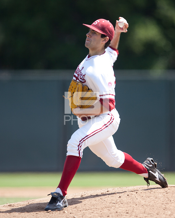 STANFORD, CA - May 7, 2011: Danny Sandbrink of Stanford baseball pitches during Stanford's game against Washington at Sunken Diamond. Stanford won 8-7.