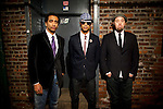 BROOKLYN  -- MARCH 08, 2011:  Alan Evans, Neal Evans and Eric Krasno, of Soulive, pose for a portrait outside of the Brooklyn Bowl before a performance on March 08, 2011 in Brooklyn.  (PHOTOGRAPHS BY MICHAEL NAGLE)
