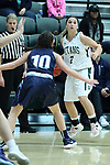 23 February 2018:  Emily Farris during an NCAA women's CCIW Semi-Final basketball game between the Elmhurst Bluejays and the Illinois Wesleyan Titans in Shirk Center, Bloomington IL