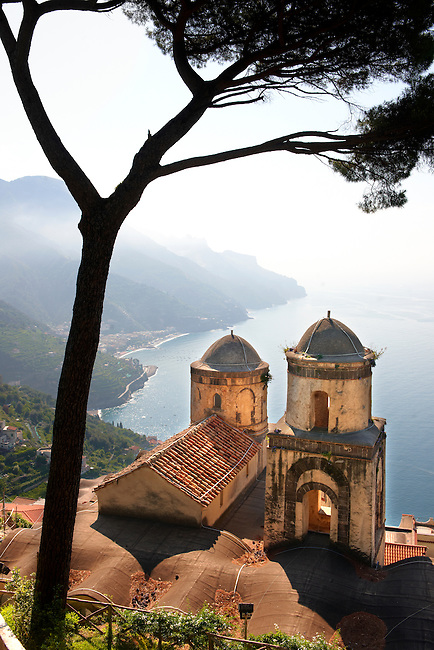 The Bell towers of Our Lady of The Anunciation church viwed from Villa Ravello, Amalfi Coast, Italy