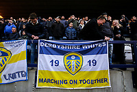 Leeds United fans set up a flag<br /> <br /> Photographer Alex Dodd/CameraSport<br /> <br /> The EFL Sky Bet Championship - Preston North End v Leeds United -Tuesday 9th April 2019 - Deepdale Stadium - Preston<br /> <br /> World Copyright &copy; 2019 CameraSport. All rights reserved. 43 Linden Ave. Countesthorpe. Leicester. England. LE8 5PG - Tel: +44 (0) 116 277 4147 - admin@camerasport.com - www.camerasport.com