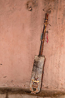 Morocco.  Gimbrie, a Gnaoua Musical Instrument.  Ait Benhaddou Ksar, a World Heritage Site.