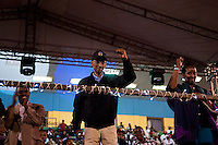 Rwandan president Paul Kagame celebrates partial presidential election results at Amahoro stadium, Kigali, Rwanda. President Paul Kagame won 93 percent of the counted votes. August 10 2010