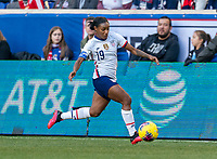 HARRISON, NJ - MARCH 08: Crystal Dunn #19 of the United States dribbles during a game between Spain and USWNT at Red Bull Arena on March 08, 2020 in Harrison, New Jersey.