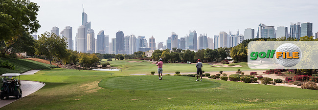 9th tee at The Address Montgomerie Golf Club, Dubai, United Arab Emirates.  27/01/2016. Picture: Golffile   David Lloyd<br /> <br /> All photos usage must carry mandatory copyright credit (&copy; Golffile   David Lloyd)