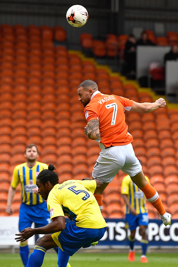 Blackpool's Kyle Vassell battles with Accrington Stanley's Omar Beckles<br /> <br /> Photographer Terry Donnelly/CameraSport<br /> <br /> The EFL Sky Bet League Two - Blackpool v Accrington Stanley - Friday 14th April 2017 - Bloomfield Road - Blackpool<br /> <br /> World Copyright &copy; 2017 CameraSport. All rights reserved. 43 Linden Ave. Countesthorpe. Leicester. England. LE8 5PG - Tel: +44 (0) 116 277 4147 - admin@camerasport.com - www.camerasport.com