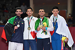 (L-R) Ahmad Almesfer (KUW), € Ryutaro Araga (JPN), Zabiollah Poorshab (IRI), Wu Chunwei (TPE), <br /> AUGUST 27, 2018 - Karate : Men's Kumite -84kg Victory ceremony at Jakarta Convention Center Plenary Hall during the 2018 Jakarta Palembang Asian Games in Jakarta, Indonesia. <br /> (Photo by MATSUO.K/AFLO SPORT)