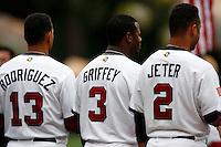 Alex Rodriguez,Ken Griffey,jr.,Derek Jeter of the USA during the World Baseball Championships at Angel Stadium in Anaheim,California on March 12, 2006. Photo by Larry Goren/Four Seam Images