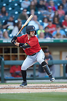 Patrick Kivlehan (47) of the Indianapolis Indians at bat against the Charlotte Knights at BB&T BallPark on April 27, 2019 in Charlotte, North Carolina. The Indians defeated the Knights 8-4. (Brian Westerholt/Four Seam Images)