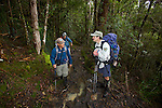 Paul Challen, rangers working on the 'Overland track is chatting with walkers...Paul Challen, un des rangers en charge de l'Overland track