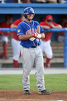 September 3, 2009:  Sean Ochinko (38) of the Auburn Doubledays grimaces after fouling a ball off his ankle during a game at Dwyer Stadium in Batavia, NY.  Auburn is the Short-Season Class-A affiliate of the Toronto Blue Jays.  Photo By Mike Janes/Four Seam Images