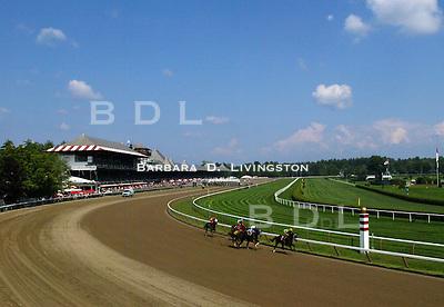 Saratoga, 8/18/03. Saratoga Race Course, Saratoga Racetrack, beautiful horse racing, Thoroughbred racing, horse, equine, racehorse, morning mood