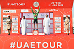 Primoz Roglic (SLO) and Team Jumbo-Visma win Stage 1 and goes into the Green Jersey of the 2019 UAE Tour, a team time trial running 16km around Al Hudayriat Island, Abu Dhabi, United Arab Emirates. 24th February 2019.<br /> Picture: LaPresse/Massimo Paolone | Cyclefile<br /> <br /> <br /> All photos usage must carry mandatory copyright credit (© Cyclefile | LaPresse/Massimo Paolone)