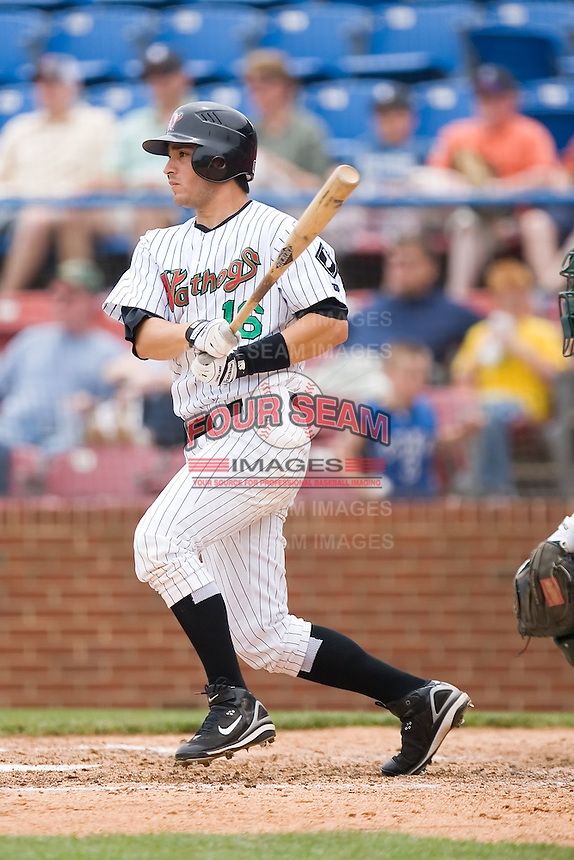 Lee Cruz (16) of the Winston-Salem Warthogs follows through on his swing versus the Lynchburg Hillcats at Ernie Shore Field in Winston-Salem, NC, Wednesday May 14, 2008.