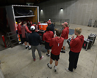 NWA Democrat-Gazette/ANDY SHUPE<br />University of Arkansas football staff and students help load equipment Thursday, Nov. 9, 2017, into a 53-foot semi-trailer before heading out to Baton Rouge, La., ahead of the Razorbacks' game with LSU Saturday. Jerry Rico and Rodney Collins are employees of J.B. Hunt Transport and the work together to drive equipment necessary for the Razorbacks football team to and from games away from Fayetteville.