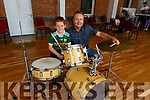 Cathal Carr on the drums getting instructions from Damien Greer at the Jam Camp in Collis Sandes on Monday.