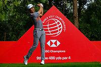 Haotong Li (CHN) on the 9th tee during the 2nd round at the WGC HSBC Champions 2018, Sheshan Golf CLub, Shanghai, China. 26/10/2018.<br /> Picture Fran Caffrey / Golffile.ie<br /> <br /> All photo usage must carry mandatory copyright credit (&copy; Golffile | Fran Caffrey)