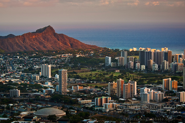 Sunset light on Diamond Head Crater and Waikiki, Honolulu, Oahu, Hawaii