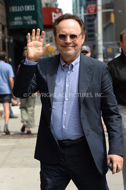 WWW.ACEPIXS.COM <br /> July 23, 2014 New York City<br /> <br /> Billy Crystal tapes an appearance on the Late Show with David Letterman on July 23, 2014 in New York City.<br /> <br /> Please byline: Kristin Callahan/ACE Pictures  <br /> <br /> ACEPIXS.COM<br /> Ace Pictures, Inc<br /> tel: (212) 243 8787 or (646) 769 0430<br /> e-mail: info@acepixs.com<br /> web: http://www.acepixs.com