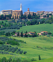 Tuscany, Italy, <br /> Skyline with towers of the hill town of Pienza in the Val d'Orcia