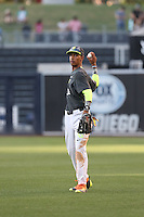 Avery Tuck (36) of the West throws between innings of the 2015 Perfect Game All-American Classic at Petco Park on August 16, 2015 in San Diego, California. The East squad defeated the West, 3-1. (Larry Goren/Four Seam Images)