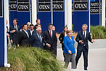Belgium, Brussels - July 11, 2018 -- NATO summit, meeting of Heads of State / Government; here, German Chancellor Angela MERKEL with NATO General Secretary Jens STOLTENBERG, and i.a. Prime Ministers Antonio COSTA (Portugal) and Pedro SÁNCHEZ (Sanchez) (Spain) -- Photo © HorstWagner.eu
