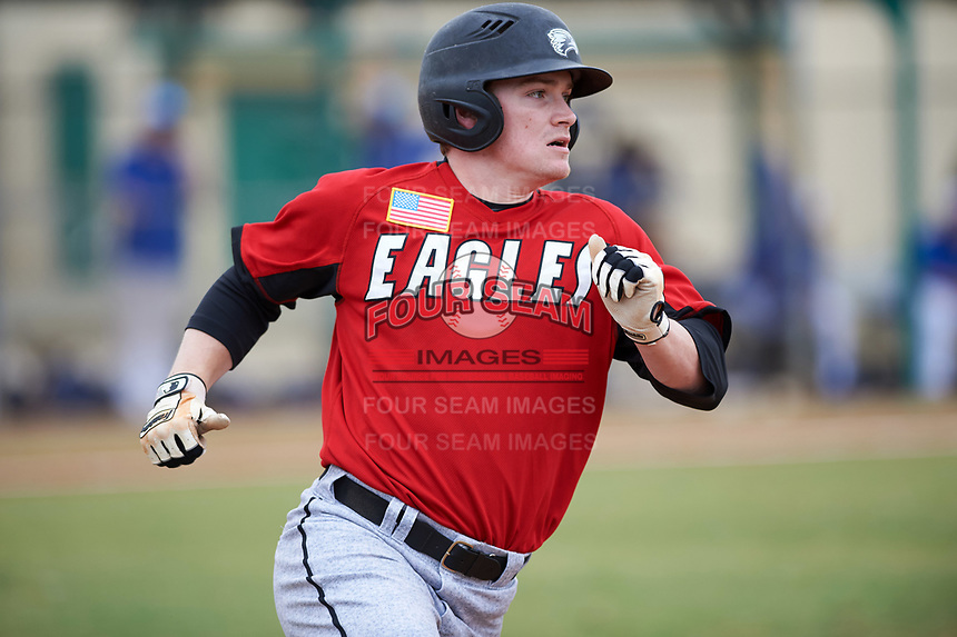 Edgewood College Eagles Danny Appino (13) runs to first base during a game against the Illinois College Blueboys on March 14, 2017 at Terry Park in Fort Myers, Florida.  Edgewood defeated Illinois College 11-2.  (Mike Janes/Four Seam Images)