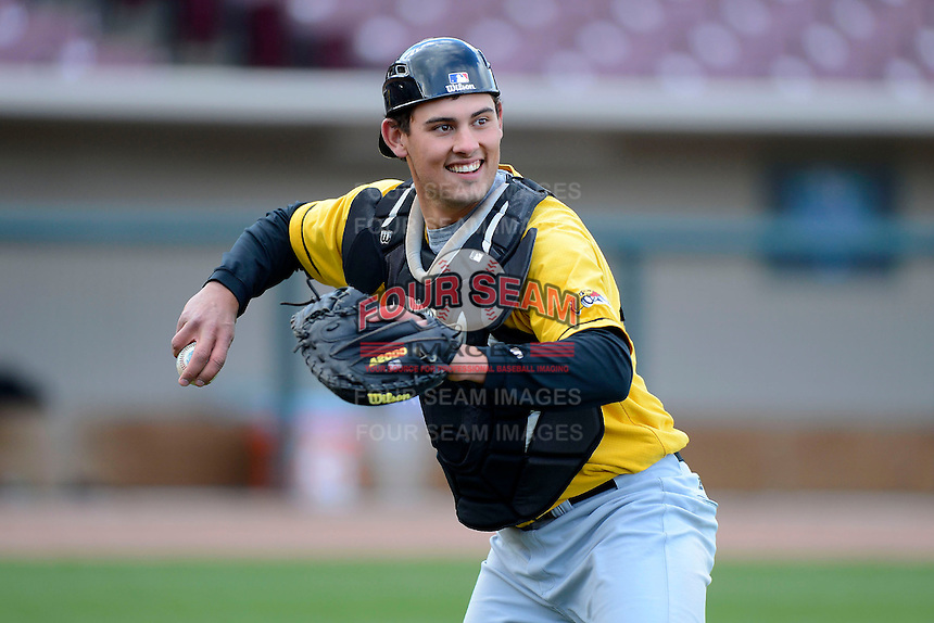 Bowling Green Hot Rods catcher Luke Maile #21 during practice before a game against the Dayton Dragons on April 20, 2013 at Fifth Third Field in Dayton, Ohio.  Dayton defeated Bowling Green 6-3.  (Mike Janes/Four Seam Images)