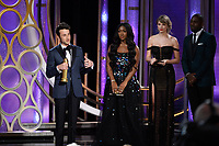 The Golden Globe is awarded to Justin Hurwitz for BEST ORIGINAL SCORE &ndash; MOTION PICTURE for &quot;First Man&quot; at the 76th Annual Golden Globe Awards at the Beverly Hilton in Beverly Hills, CA on Sunday, January 6, 2019.<br /> *Editorial Use Only*<br /> CAP/PLF/HFPA<br /> Image supplied by Capital Pictures