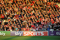 Gloucester Rugby fans enjoy the evening sunshine during the European Rugby Challenge Cup semi final match between Gloucester Rugby and Exeter Chiefs at Kingsholm Stadium on Saturday 18th April 2015 (Photo by Rob Munro)