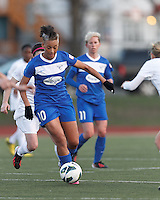 Boston Breakers forward Lianne Sanderson (10) on the attack.  In a National Women's Soccer League Elite (NWSL) match, the Boston Breakers (blue) tied the Washington Spirit (white), 1-1, at Dilboy Stadium on April 14, 2012.