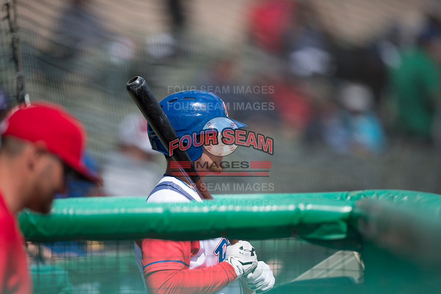 Stockton Ports designated hitter Jonah Bride (9) during a California League game against the San Jose Giants on April 9, 2019 in Stockton, California. San Jose defeated Stockton 4-3. (Zachary Lucy/Four Seam Images)