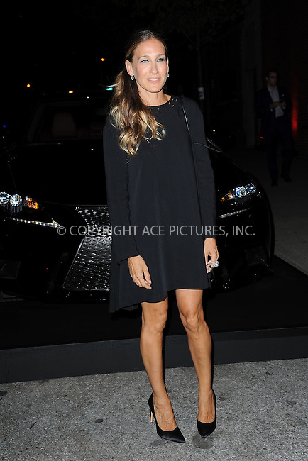 WWW.ACEPIXS.COM<br /> September 5, 2013 New York City<br /> <br /> Actress Sarah Jessica Parker arriving at the 'Lexus Design Disrupted' event SIR Stage 37 on September 5, 2013 in New York City.<br /> <br /> By Line: Kristin Callahan/ACE Pictures<br /> <br /> ACE Pictures, Inc.<br /> tel: 646 769 0430<br /> Email: info@acepixs.com<br /> www.acepixs.com<br /> Copyright:<br /> Kristin Callahan/ACE Pictures