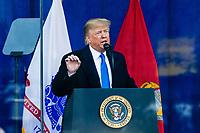 NEW YORK, NEW YORK - NOVEMBER 11: US President Donald Trump speaks during a Veterans Day event at Madison Square Park November 11, 2019, in New York, New York.  (Photo by Eduardo Munoz/VIEWpress)