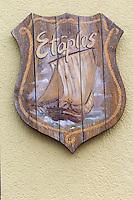 France, Pas-de-Calais (62), Côte d'Opale, Etaples:   Blason //  France, Pas de Calais, Cote d'Opale (Opal Coast), Etaples: Coat of arms