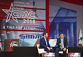 United States Senator Ted Cruz (Republican of Texas), right, is interviewed by Ben Domenech of The Federalist, left, at the Conservative Political Action Conference (CPAC) at the Gaylord National Resort and Convention Center in National Harbor, Maryland on Thursday, February 22, 2018.<br /> Credit: Ron Sachs / CNP
