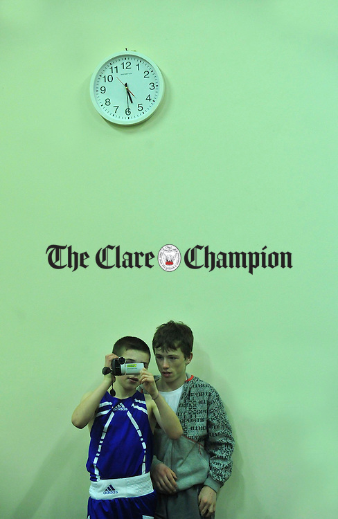 Bernie Mc Donagh and Daniel Lally record the event. Photograph by Declan Monaghan